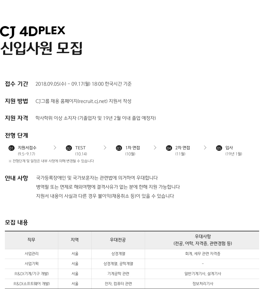 CJ 4Dplex 신입사원 모집