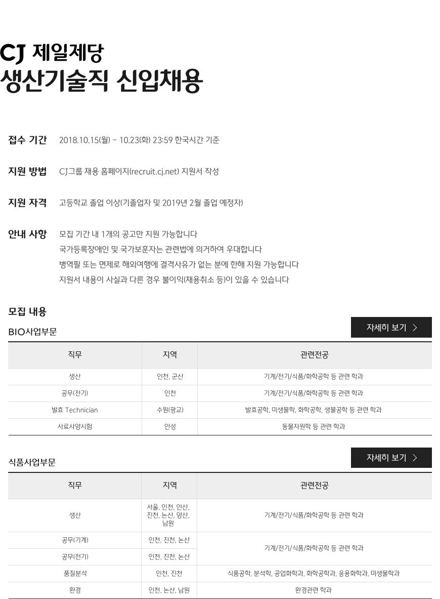 CJ 제일제당 생산기술직 신입채용